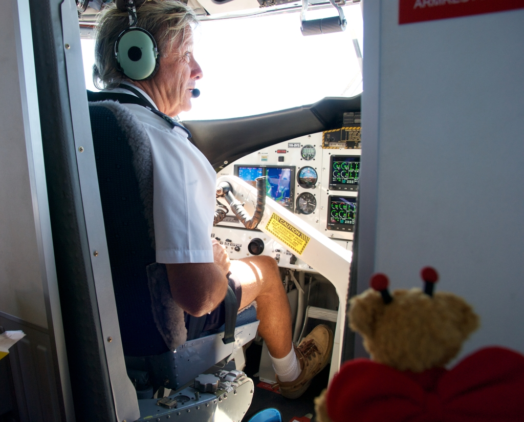 BeeBear supervises the flying. The map diagram on the control panel show the flight path