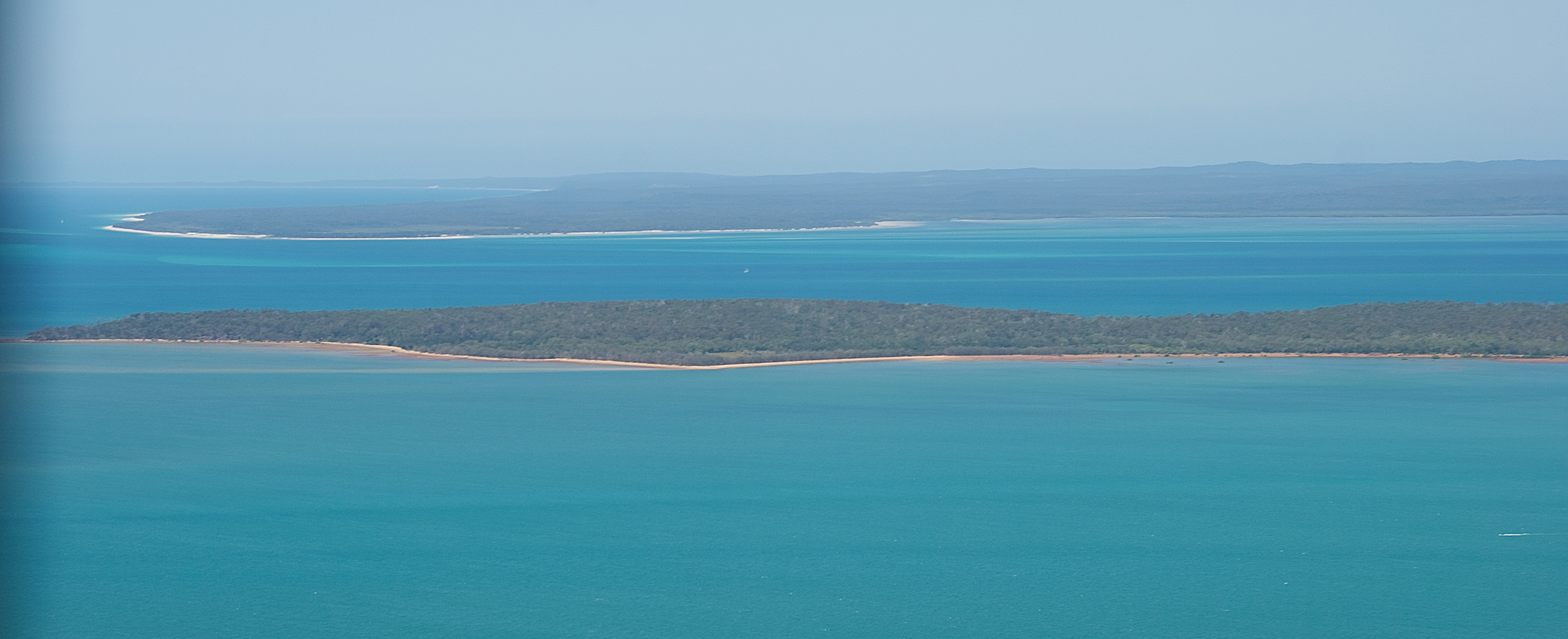 Looking east from our aircraft. The large island in the distance is Fraser Island