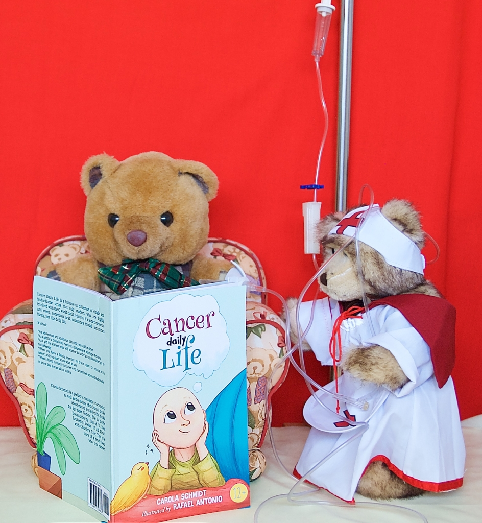 Our Scotland The Brave bravely gets chemotherapy while reading Cancer Daily Life by Carola Schmidt. It makes him feel not alone.