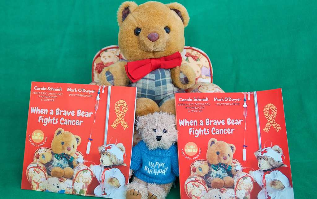 Mer, Scotland the Brave showing the wonderful book with Me in it .Its called When A Brave Bear Fights Cancer: A Get Well Soon Gift.
